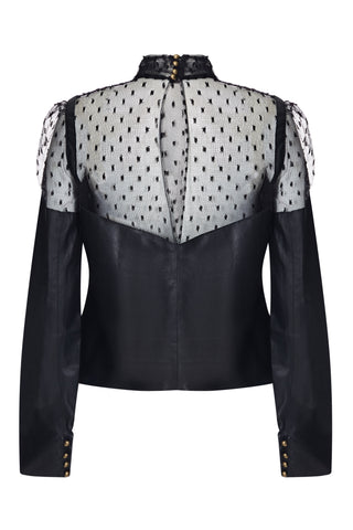 LACE PANEL LEATHER TOP