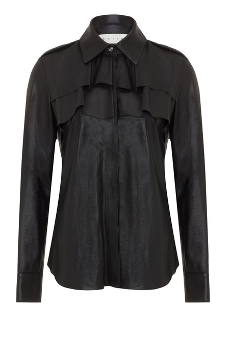 LEATHER FRILL SHIRT