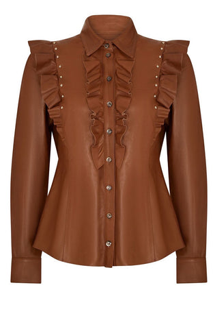 FRILL FRONT LEATHER SHIRT