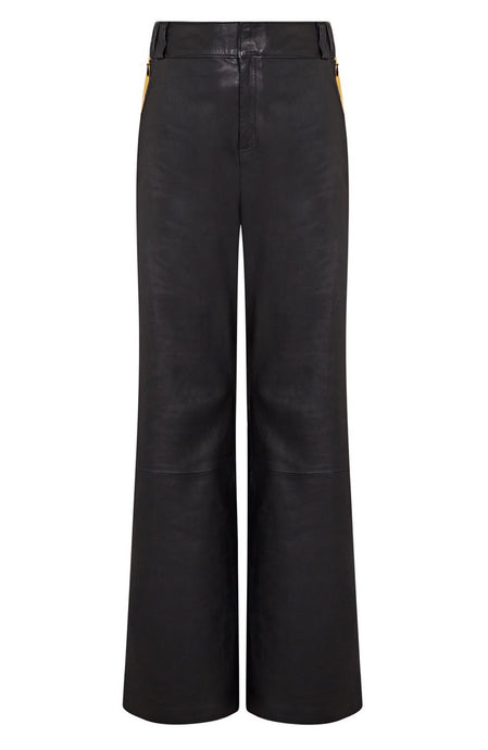 black mustard stripe pant | mustard stripe pants | black stripe pants