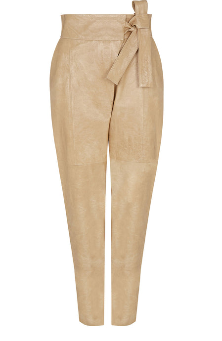 TIE-SIDE LEATHER PANT