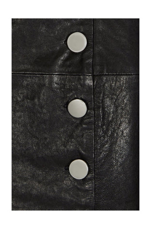 BUTTON-FRONT LEATHER SKIRT