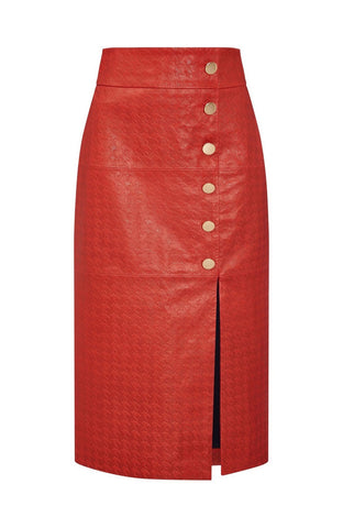 EMBOSSED LEATHER SKIRT