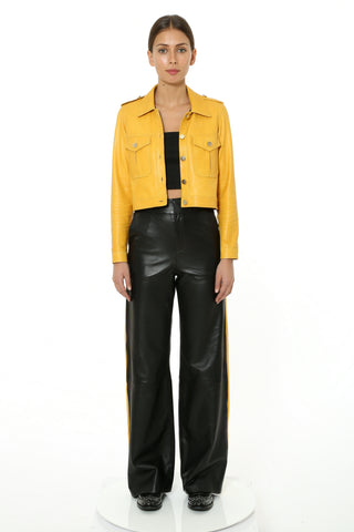 MUSTARD STRIPE LEATHER PANT