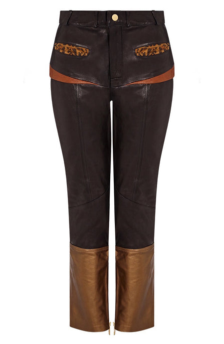 leather spliced pant | women spliced leather pants | womens leather pants