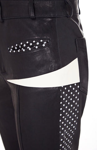 LEATHER SPLICED PANT
