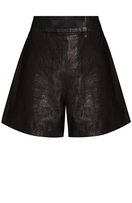 FLARED LEATHER SHORT