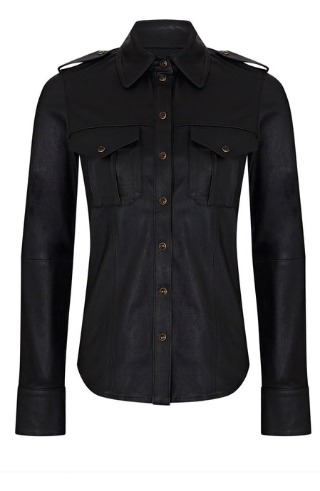 LEATHER UTILITY SHIRT