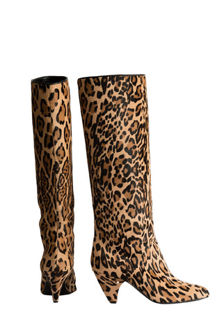 CALF-HAIR LEATHER KNEE BOOTS