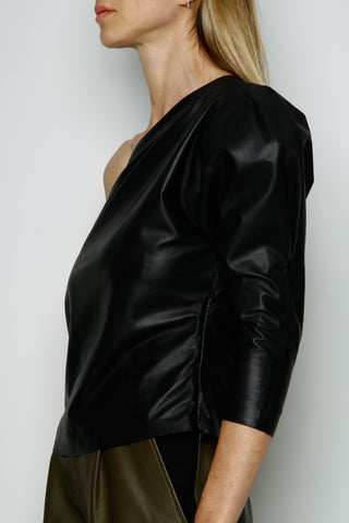 BLACK LEATHER ONE SHOULDER TOP