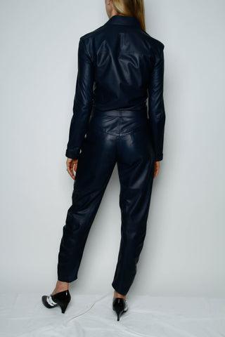 INDIGO LEATHER JUMPSUIT