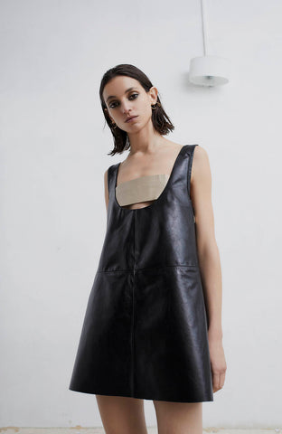 LEATHER TRAPEZE DRESS