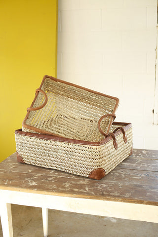 Open weave leather trimmed storage