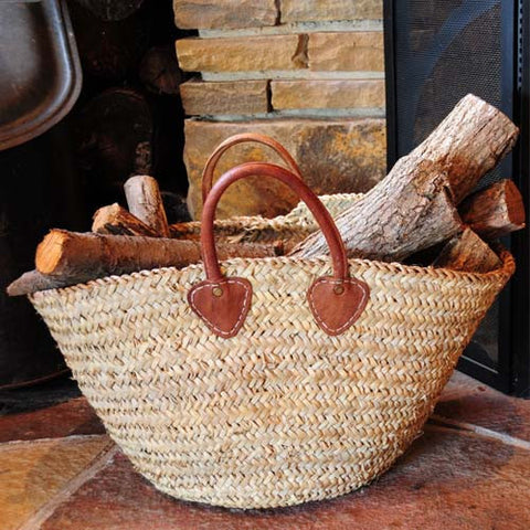 Wood storage basket