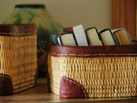 Leather trimmed storage baskets