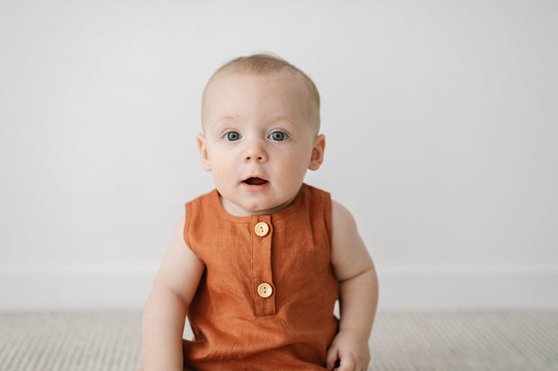 Clay Linen Bubble Romper