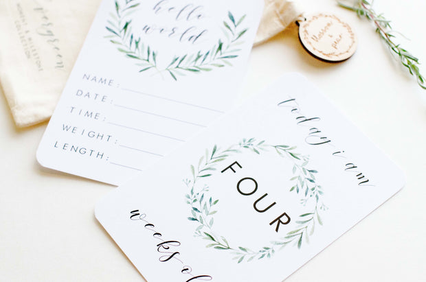 Baby Milestone Cards - Evergreen