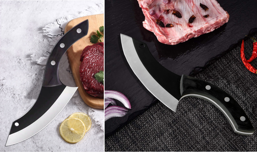 Small Scimitar Hammer carbon steel forging knife sliced with kitchen knife Meat Cutting Slaughter Knife Household Sliced