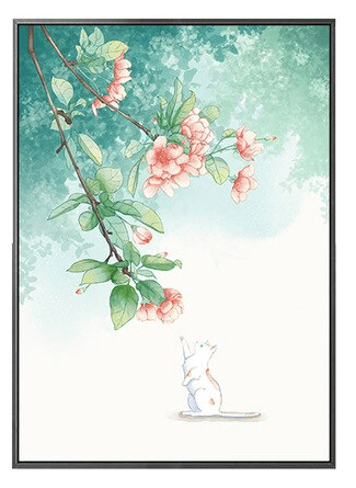 The Flowers and the Cat Canvas