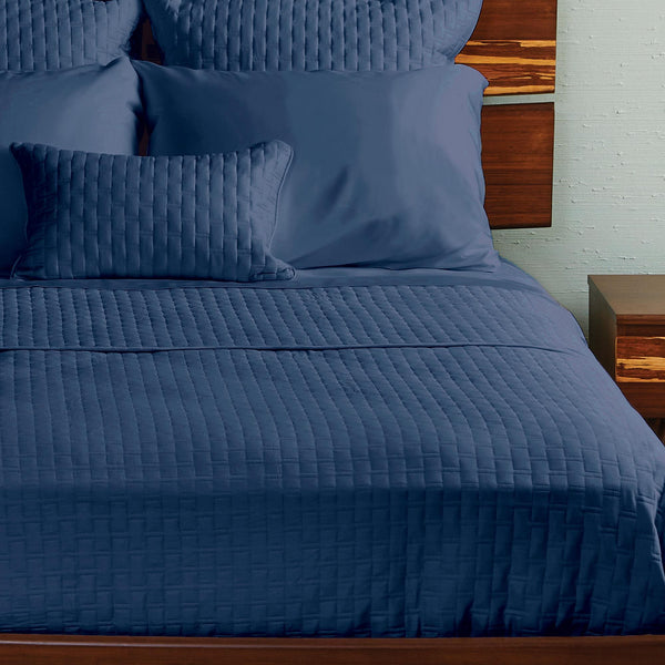 Bamboo Quilted Coverlet Indigo