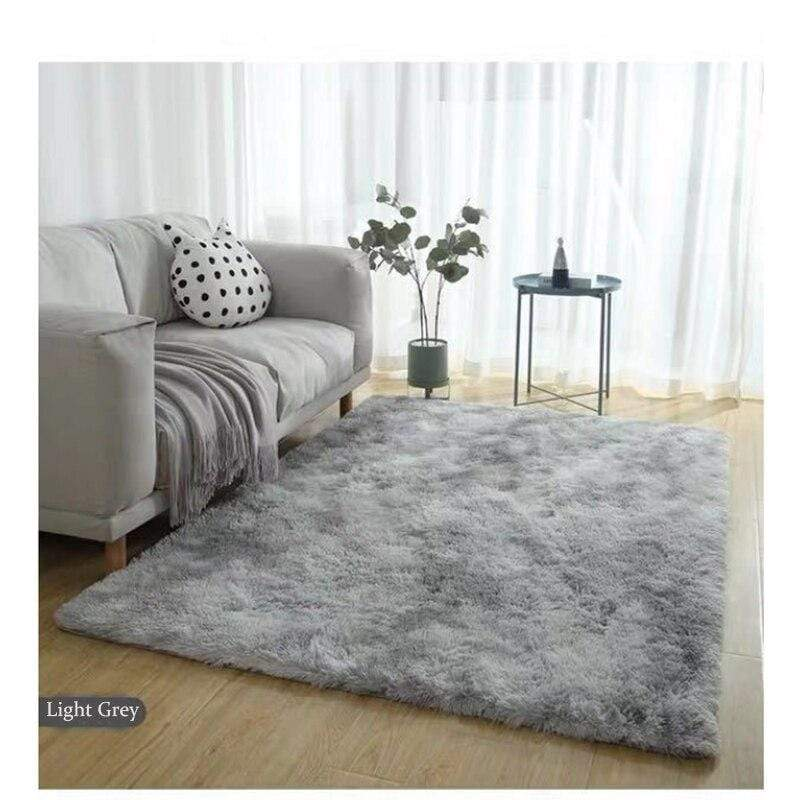 Light Grey Faux Fur Area Rug