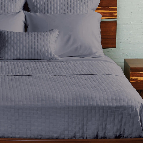 Bamboo Quilted Coverlet Platinum