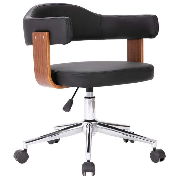 Office swivel chair Black Bentwood and imitation leather