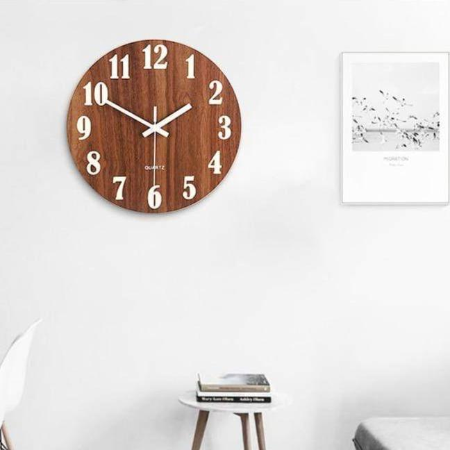 Vintage Rustic Wooden Wall Clock with Night Light