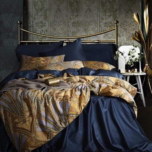 Giverny Navy Blue Egyptian Cotton Bedding Set