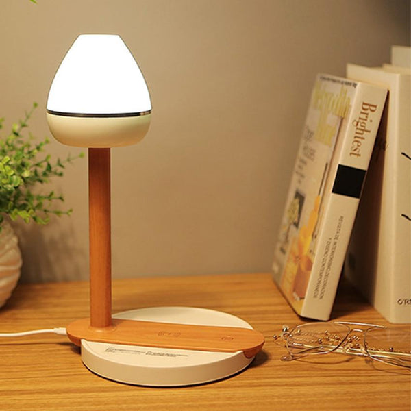 Wooden Desk Lamp with Qi Wireless Charging