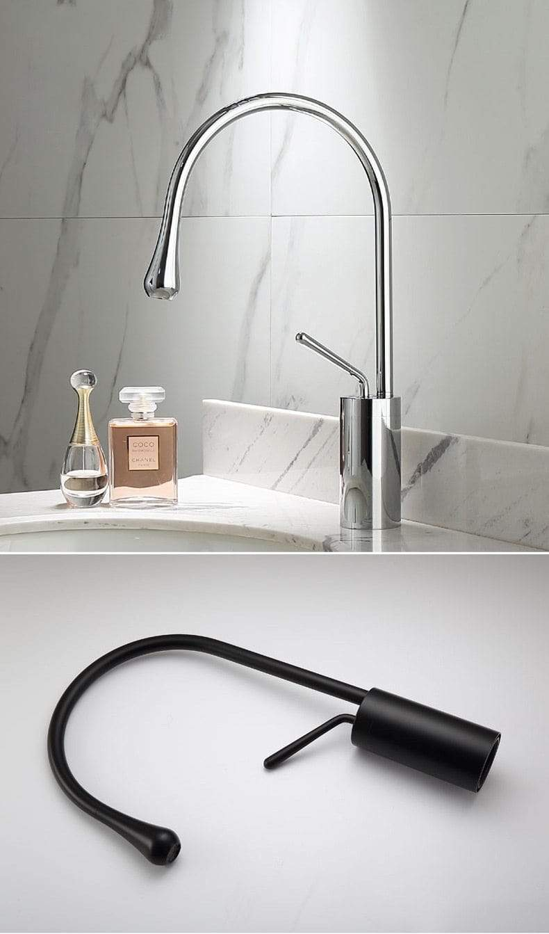 Forio Black Waterfall Bathroom Faucet