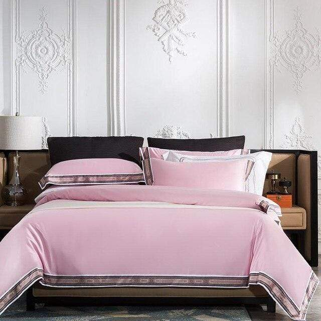Rose Violet  100% Egyptian Cotton Pinted Edge Duvet Cover Set 4 Piece Luxury Soft Silky Bedding Set Bed sheet set Pillowcase