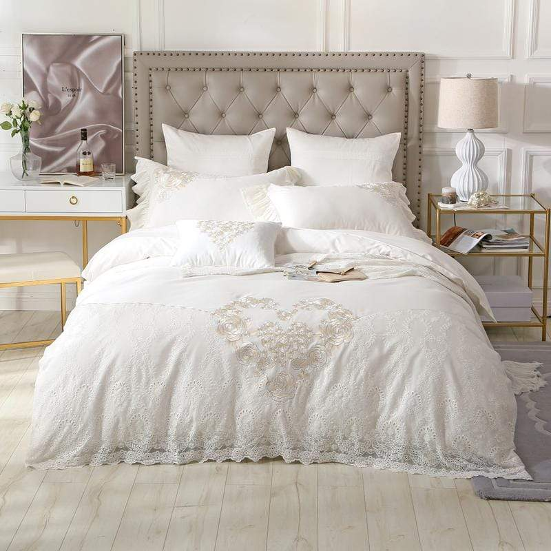 White Lace Quality 100% Egyptian Cotton Bedding Set | Guccio Home