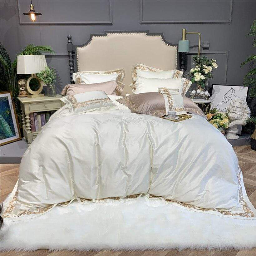 White & Gold Good Quality Egyptian Cotton Bedding Set | Guccio Home
