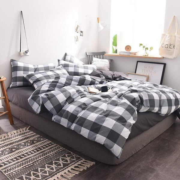 Moreton Checkered Comfy Cotton Bedding Set