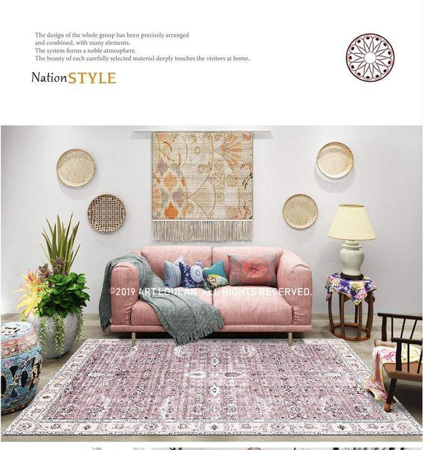 pink-and-white-vintage-rug-in-a-living-room-Zavato-Home