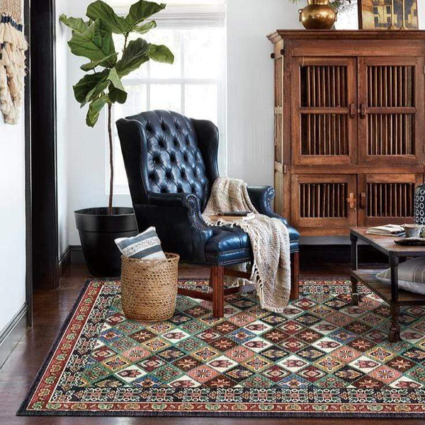 multicolor-rug-with-leather-couch-Zavato-Home