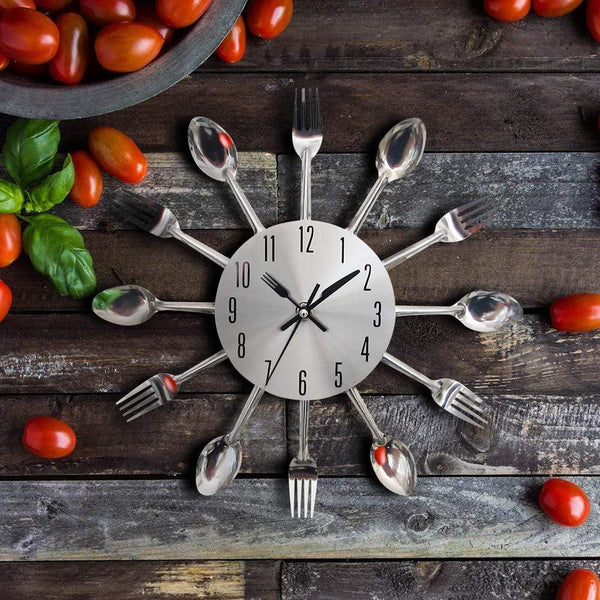 Large Stainless Steel Cutlery Wall Clock