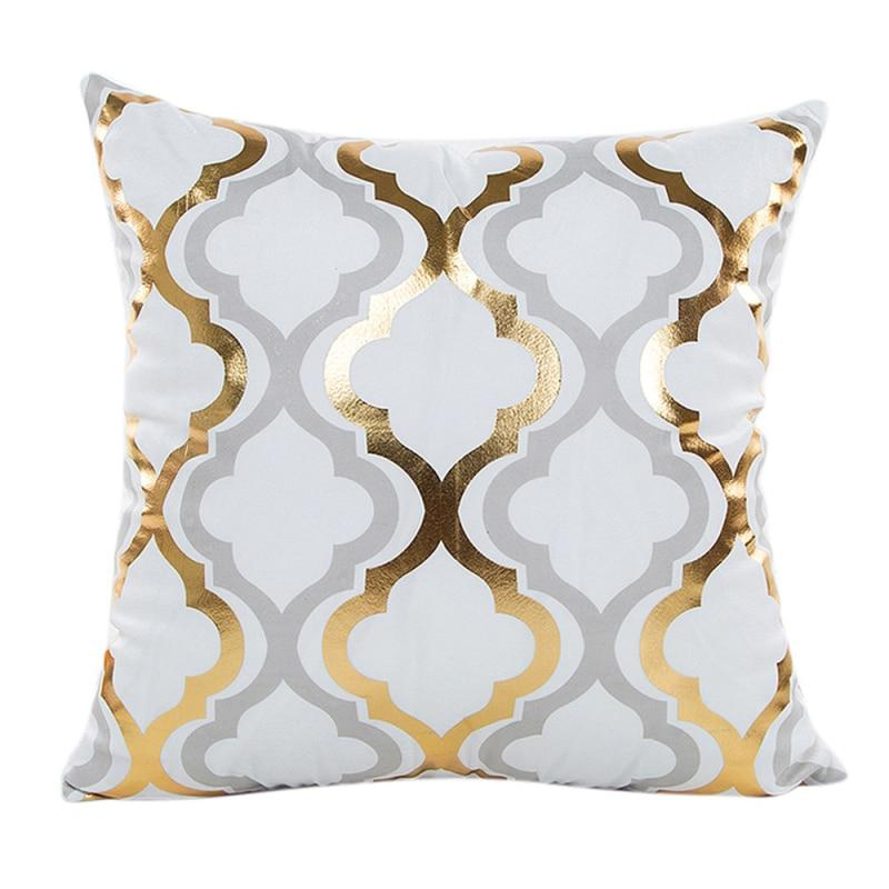 Golden Grey & White Throw Pillow Case