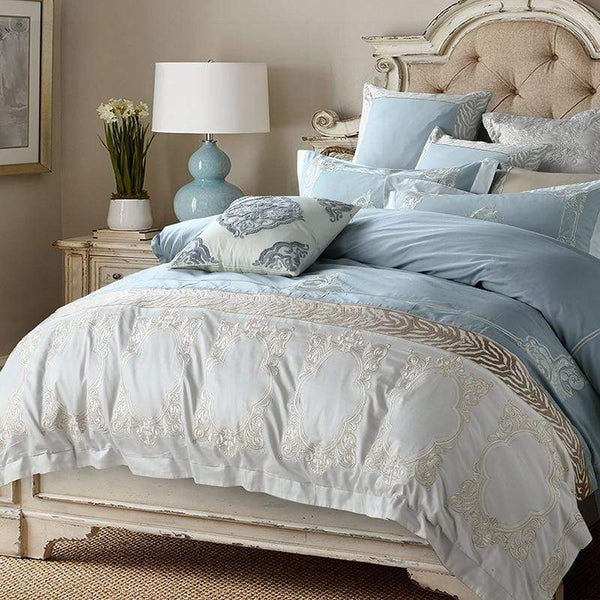Oriental Blue Egyptian Cotton Bedding Fabric Set | Guccio Home
