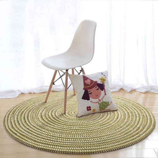 Chartreuse Hand Woven Round Rug