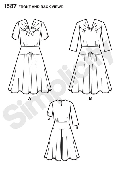 simplicity 1587   1940s vintage dress sewing pattern