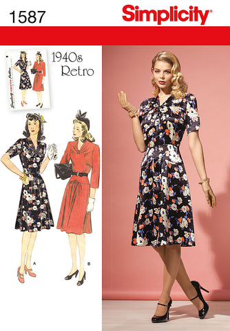 Simplicity 1587 : 1940s Vintage Dress Sewing Pattern