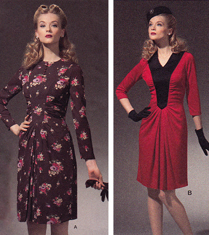 Simplicity 1777: 1940s Repro Vintage Sewing Pattern: Ruched Dress.
