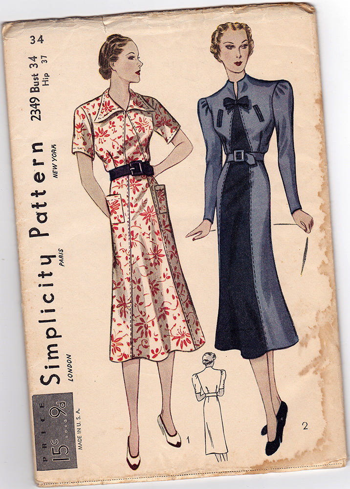 Simplicity 2349. 1930s Sewing Pattern. 1930s Dress Vintage ...