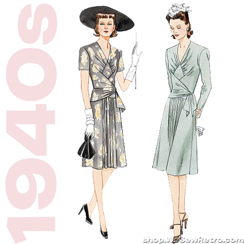1940s Vintage Vogue Sewing Pattern: Vintage Dress Pattern.  Vogue 2876