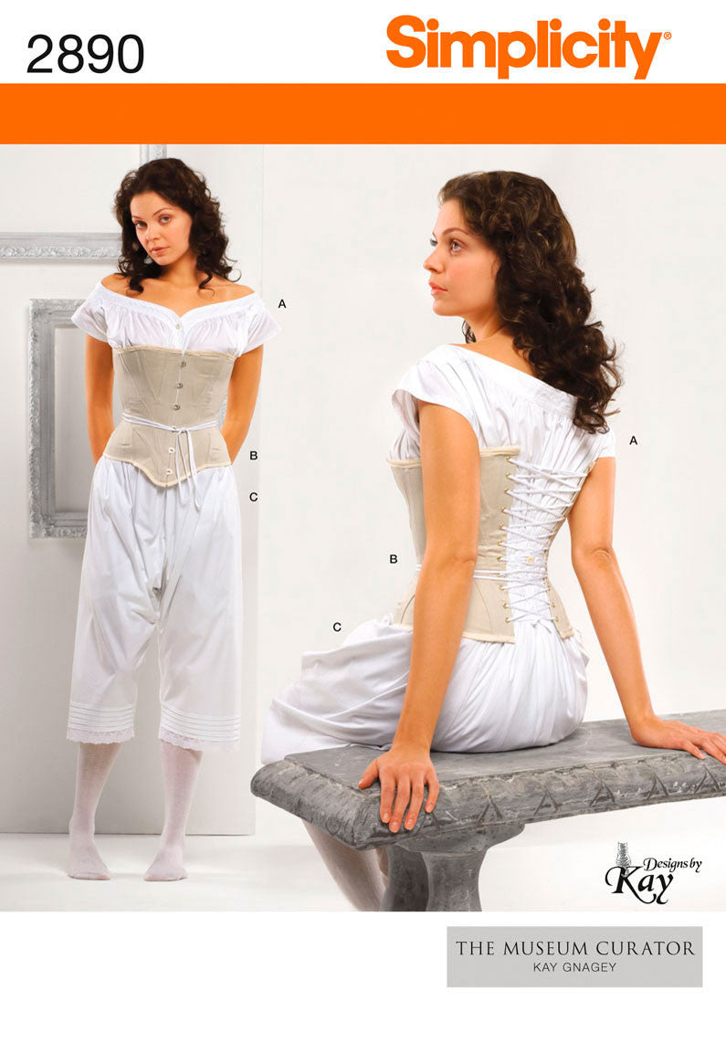 Simplicity 2890 : Victorian Corset, Chemise and Drawers Sewing Pattern
