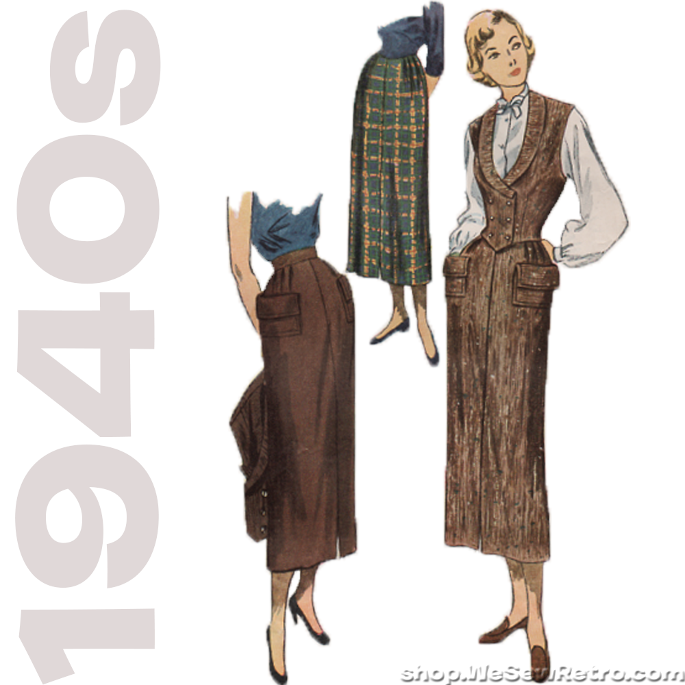 Simplicity 2943 Sewing Pattern - 1940s Vintage Pattern - Misses Skirt and Weskit Pattern