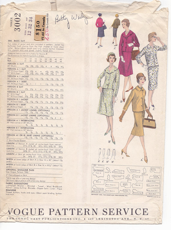 1950s Vintage Sewing Pattern: Misses Jackets and Skirts. Vogue 3002