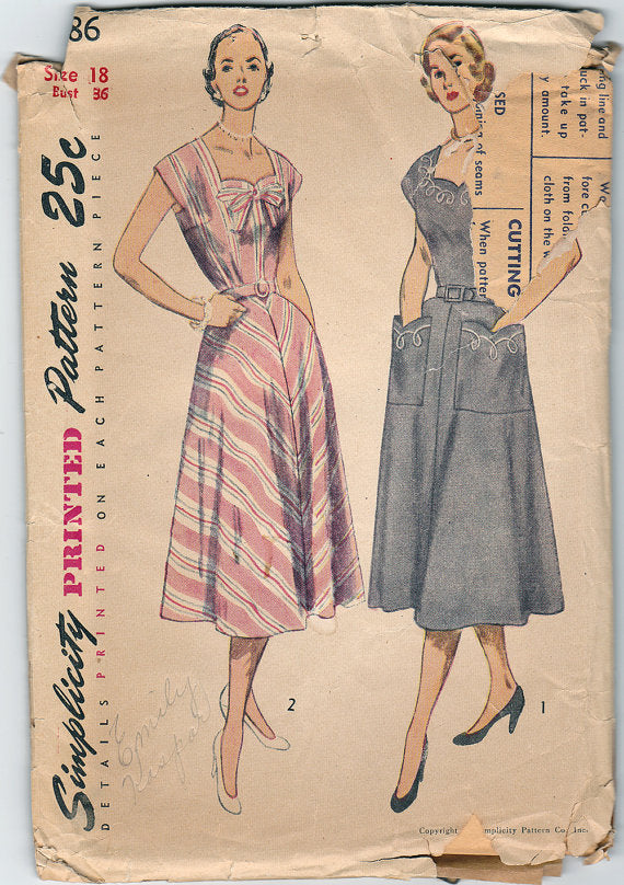 "Simplicity 3586 - 1950s Dress Vintage Sewing Pattern  - 36"" Bust"